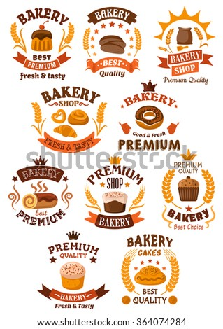 Bakery, desserts and pastry badges or emblems with assorted bakery icons as bread, cake, cupcake, pretzel, donut and dough. Many incorporating ears of wheat, vector on white - stock vector