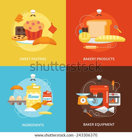 Bakery flat icons set with sweet pastries products ingredients baker equipment isolated vector illustration - stock vector