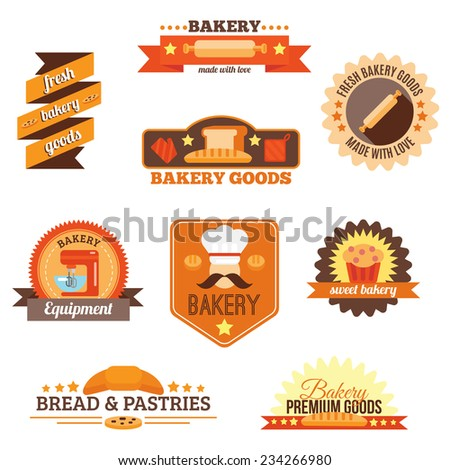 Bakery fresh goods bread pastries and equipment label set isolated vector illustration - stock vector