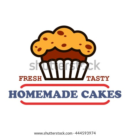 Bakery house and pastry shop vintage sign of chocolate cupcake with raisins, supplemented by banner with text Homemade Cakes. Cafe hanging signboard or bakery food packaging design. Thin line style - stock vector