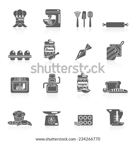 Bakery icon black set with bread cakes flour pastry isolated vector illustration. - stock vector
