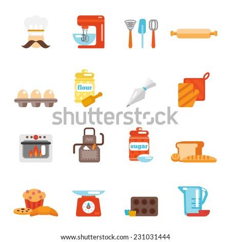 Bakery icon flat set with bread cakes flour pastry isolated vector illustration - stock vector