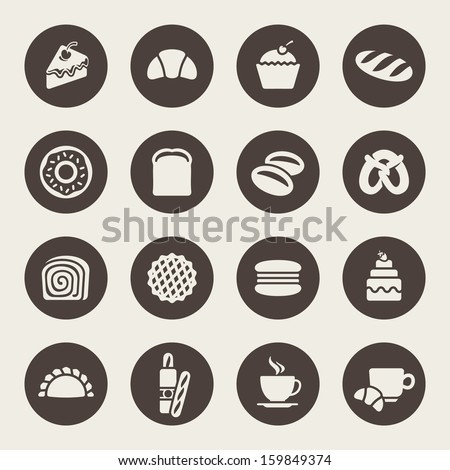 Bakery icon set - stock vector