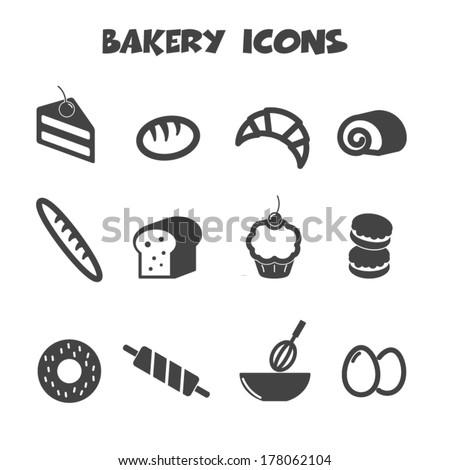 bakery icons, mono vector symbols - stock vector