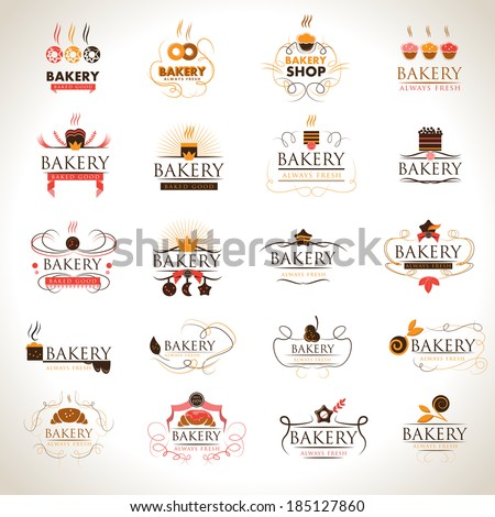 Bakery Icons Set - Isolated On Gray Background - Vector Illustration, Graphic Design Editable For Your Design. - stock vector
