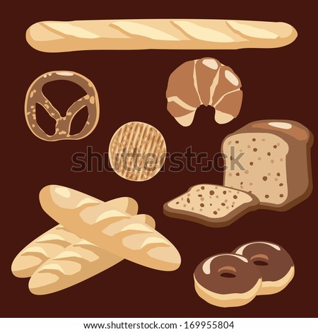 Bakery icons set, vector illustration of various breads