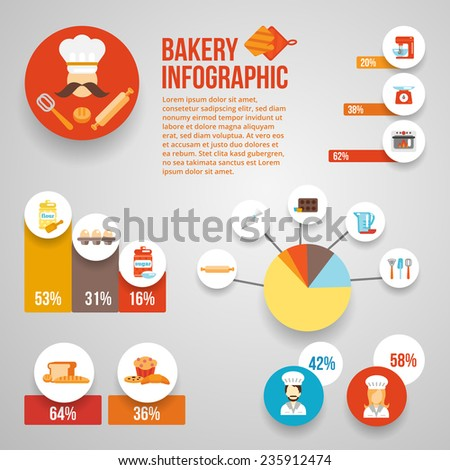 Bakery infographics set with food cooking equipment and charts vector illustration - stock vector