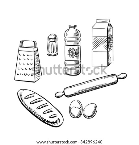 Bakery ingredients and kitchen utensil with milk pack, bottle of sunflower oil, eggs, salt, grater, rolling pin and long loaf of bread. Sketch icons for recipe book or baking theme design - stock vector
