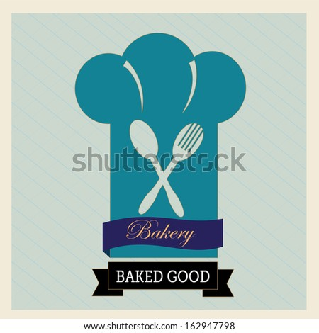 bakery label over blue  background vector illustration - stock vector