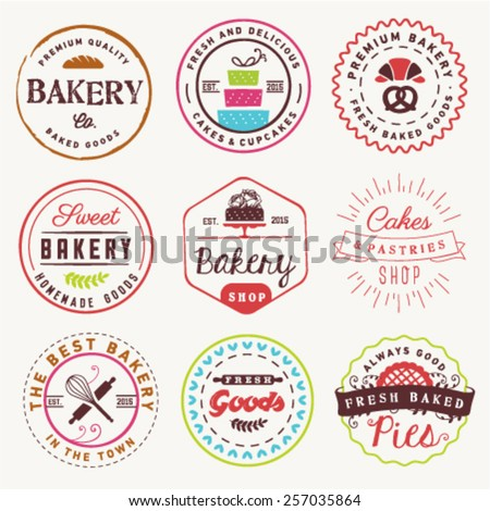 Bakery Labels Badges and Design Elements - stock vector