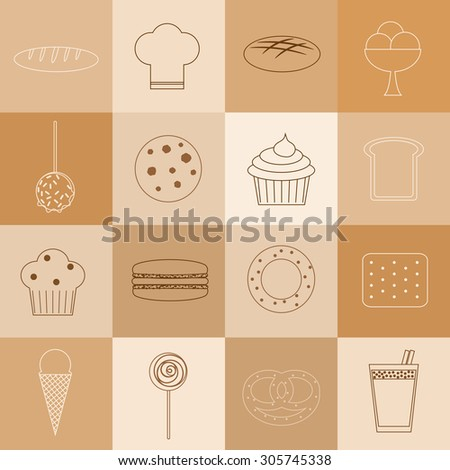 Bakery linear icons set. Loaf, chef hat, bread, ice cream, caramel apple, cookie, cupcake, muffin, macaron, bagel, cracker, lolly pop, bun, cocoa.