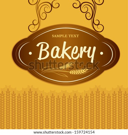 Bakery. loaf, baguette, baked goods, croissant, cupcake, bagel. labels, pack for bread wheat ear of wheat - stock vector