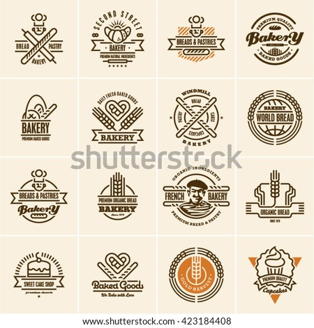 bakery logo, bakery icons set, bakery labels, bread, pastry