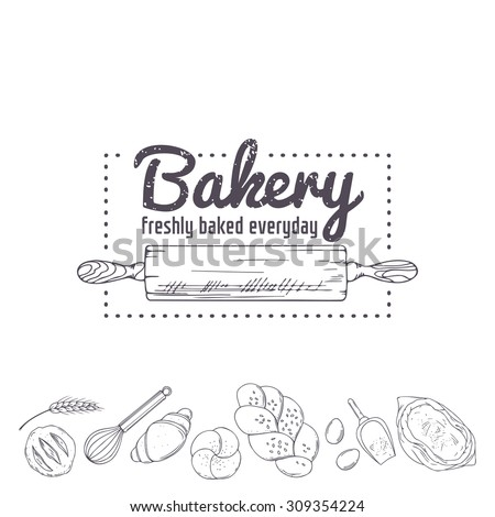 Bakery logo template. Hand drawn rolling pin and baking for your design in vector. Sketched illustration - stock vector