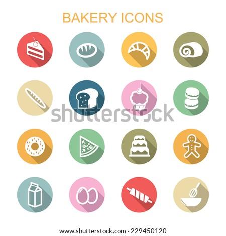bakery long shadow icons, flat vector symbols - stock vector