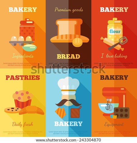 Bakery mini poster set with premium goods bread daily fresh pastries isolated vector illustration - stock vector