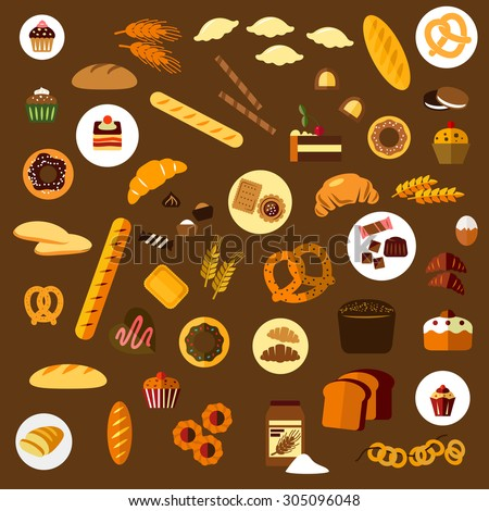 Bakery, pastry and confectionery flat icons with various breads, croissants, pretzels, donuts, cakes, cookies, cupcakes, candies and bagels - stock vector
