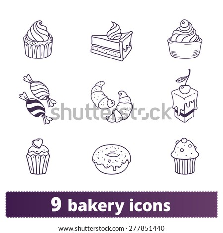 Bakery, pastry icons: vector set of cake, cupcake, donut and candy signs. - stock vector