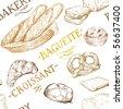 bakery pattern - stock vector