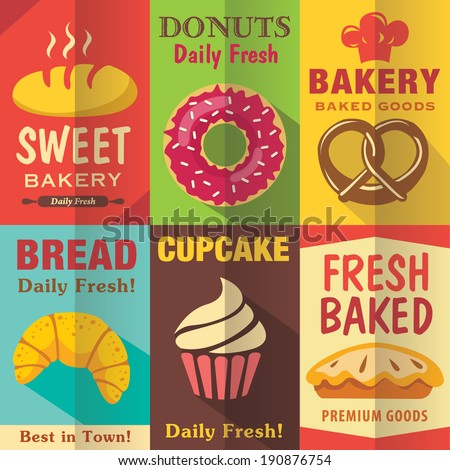 Bakery posters set with flat design. Vector background - stock vector