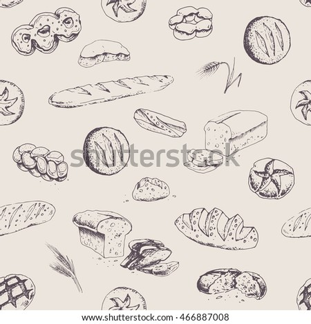 bakery products and bread - seamless patterns. isolated vector. for packaging design, menu and walls bakery. vintage. dark elements on a light background