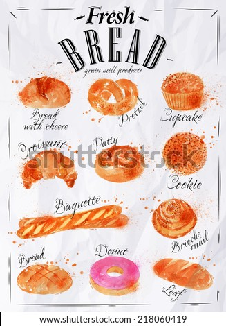 Bakery Products Painted Watercolor Poster With Different Types Of Bread Loaf Croissant