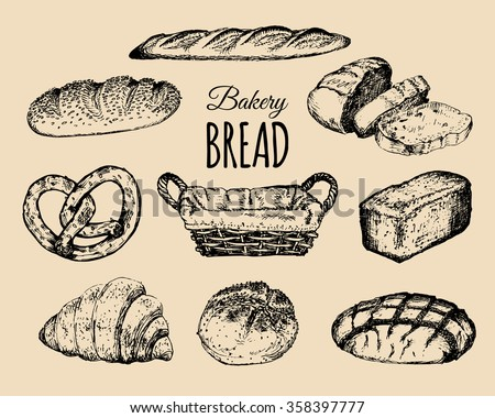Bakery products set. Bread collection. Hand drawn loafs, croissant, bagel, etc. illustration. Hipster pastry signs.