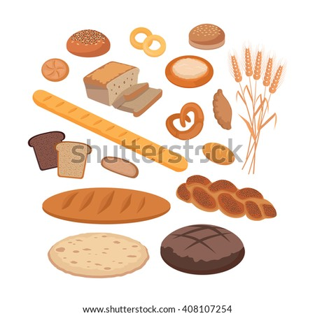 Bakery products set flat design. Bread and bakery shop, cake and baking, pastry cupcake products, roll and donut, product food bakery, breakfast vector illustration