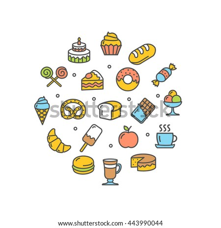 Bakery Round Design Template Thin Line Icon Set Isolated on White Background. Vector illustration