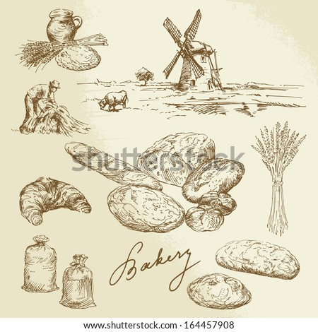 bakery, rural landscape, bread - hand drawn set - stock vector