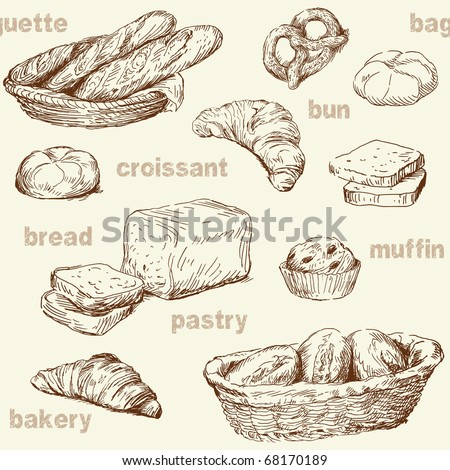 bakery seamless pattern - stock vector