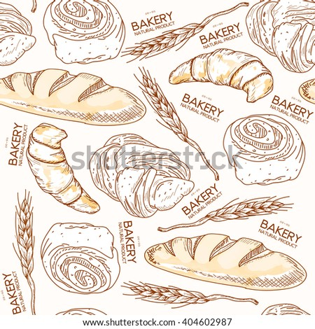 Bakery seamless pattern fresh bread and buns ears of wheat hand drawn vector illustration