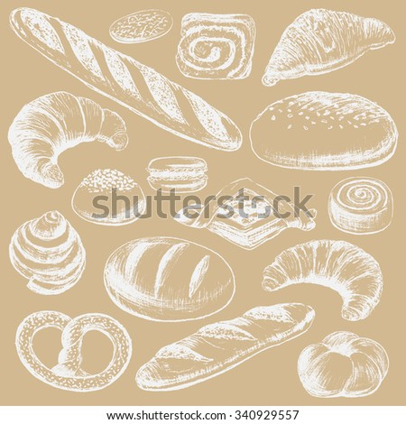 Bakery set hand drawn in vintage style. Vector illustration.