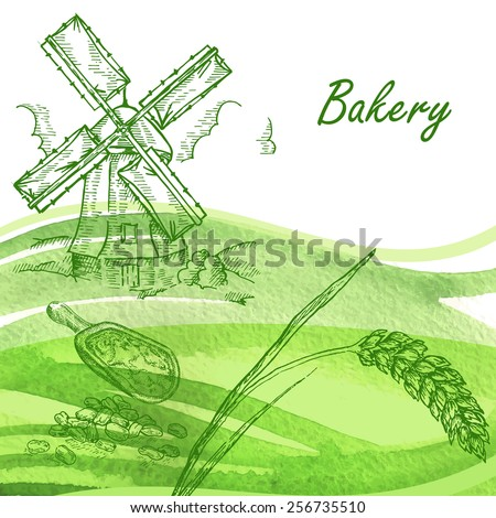Bakery set. Hand drawn windmill, wheat, grain with watercolor background  - stock vector