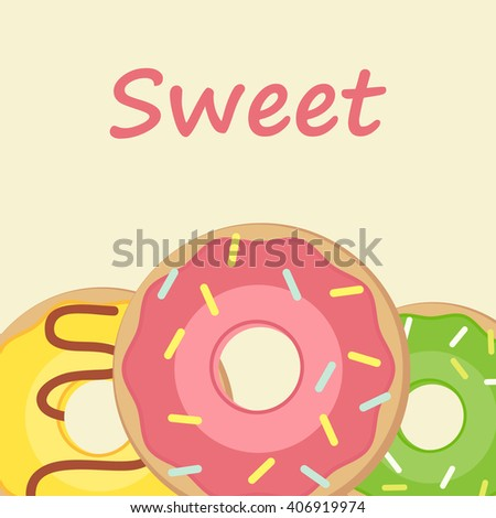 Bakery shop and cafe poster with donuts vector illustration - stock vector