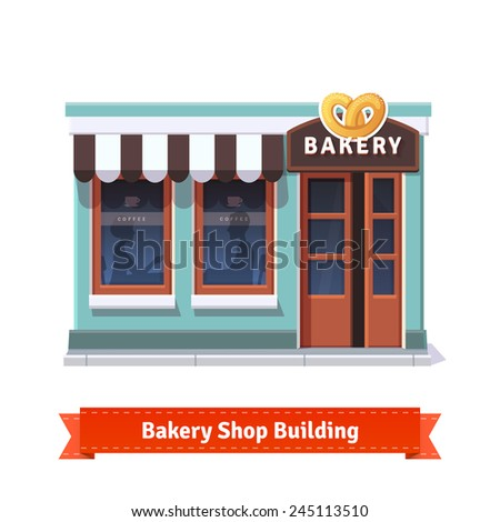 Bakery shop building  facade with signboard. Flat style illustration or icon. EPS 10 vector. - stock vector