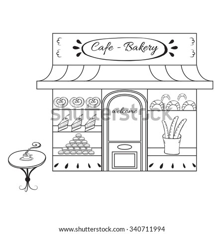 Bakery shop building facade with signboard. Hand drawn illustration or icon for city landscape. Sketch of european building or market on the street isolated on white background Outdoor cafe with table - stock vector