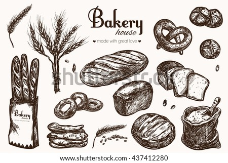 Bakery shop collection. Different types of bread. Vector isolated hand drawn illustrations - stock vector