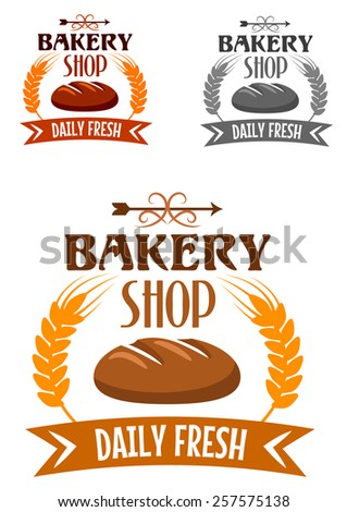 Bakery shop emblem or logo depicting fresh hot loaf of rye bread bordered golden wheat ears and ribbon banner with text Daily Fresh - stock vector