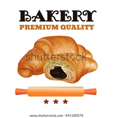 Bakery Shop Label Design Set. Fresh and Tasty Desserts. Premium Quality. Croissant , Ribbons and Stars. Vector Illustration. - stock vector