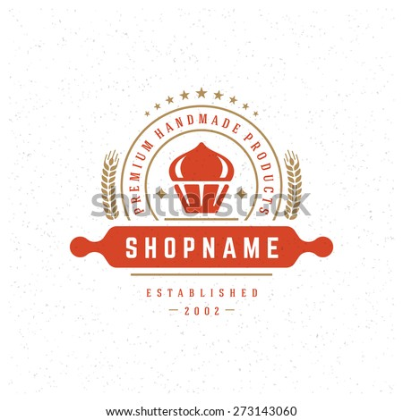Bakery Shop Logo Design Element in Vintage Style for Logotype, Label, Badge and other design. Cake retro vector illustration. - stock vector