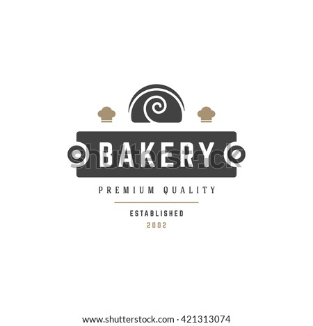 Bakery Shop Logo Template. Vector object and Icons for Pastry Food Label or Badge, Bakery Food Logotype Design, Emblem Graphics.  - stock vector