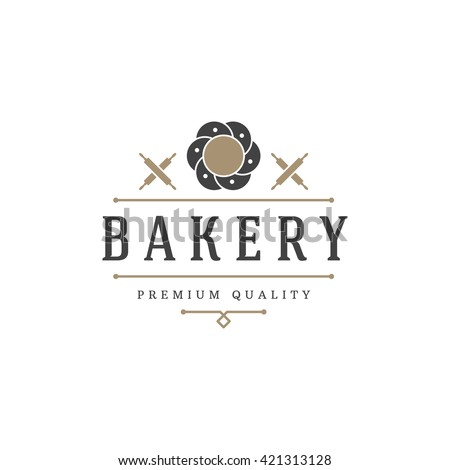 Bakery Shop Logo Template. Vector object and Icons for Pastry Food Label or Badge, Emblem Graphics.  - stock vector