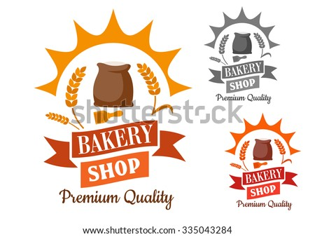 Bakery shop retro sign with flour and wooden scoop, framed by sun rays, wheat, swirling ribbon banner and text Premium Quality - stock vector