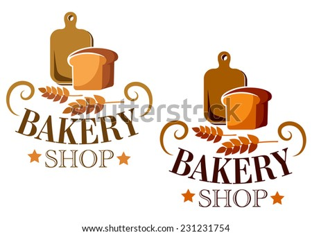 Bakery Shop sign or label with a loaf of bread and a cutting board over ears of wheat and the text Bakery Shop, vector illustration isolated on white - stock vector