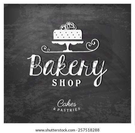 Bakery Shop Typographical Text on Chalkboard - stock vector