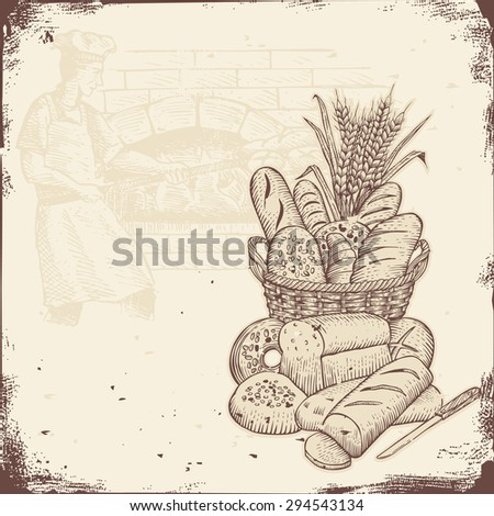 Bakery signboard, Basket of bread and baker baking bread in a brick oven. - stock vector