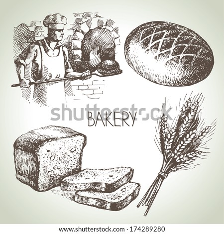 Bakery sketch icon set. Vintage hand drawn illustrations - stock vector