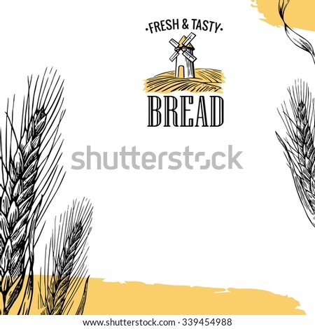 Bakery sketch. Mill, Wheat field, Ears. Vintage hand drawn vector engraving illustration for logotype, label, poster, brochures. - stock vector