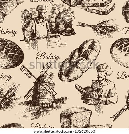Bakery sketch seamless pattern. Vintage hand drawn illustration - stock vector